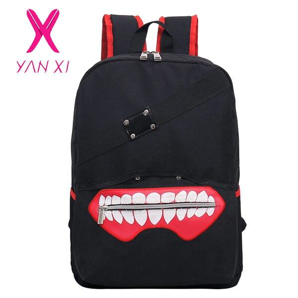 YANXI New High Quality Anime Tokyo Ghoul oxford unisex cartoon hot soild Luxurious softback zipper Backpack Double Shoulder Bag