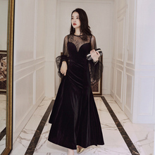 Lady Summer Lace Dress Elegant Women Evening Party O-ncek Black Color Ankle-Length Vintage Mermaid Dresses