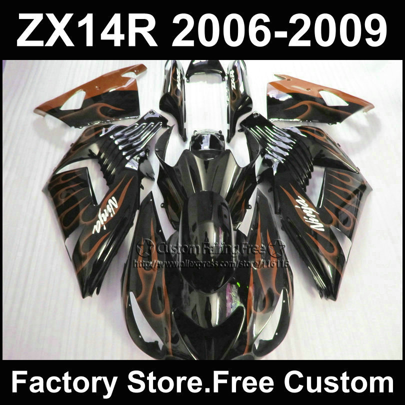 Motorcycle Injection fairing kit for Kawasaki 2006 2007 2008 2009 ZX14R Ninja ZX 14R 06-09 orange flame custom ABS fairings kits aftermarket free shipping motorcycle parts for motorcycle 2006 2007 2008 2009 kawasaki zx14 zx14r zx 14r axle caps covers chrome