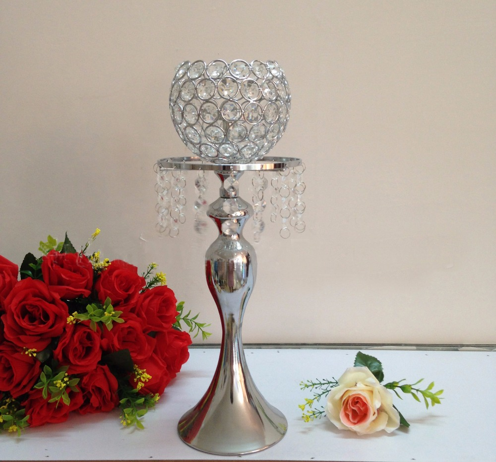 Crystal Ball Candle Holder Wedding Flower Vase Table Centerpiece Wedding Props 10 Pcs/lot Can Be Repeatedly Remolded. h 40cm