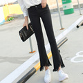 Summer New Fashion Irregular Denim jeans,Plus sizes women's jeans pants Tassel flare pants denim pants Free shipping Y115