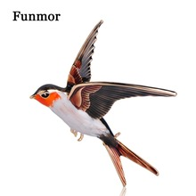 FUNMOR Vivid Enamel Swallow Shape Brooch Pins Coat Dress Decoration Badge Sweater Pendant Bird Animal Brooches For Women Men