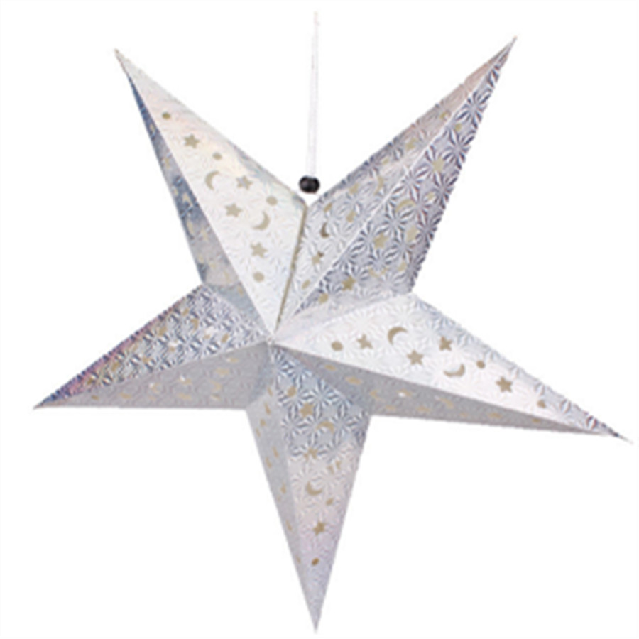 1PC SET 45cm Shiny Star Paper lampshade lanterns Star Shape Party Decor Craft For Wedding Party Christmas Lampshade Decoration in Lanterns from Home Garden