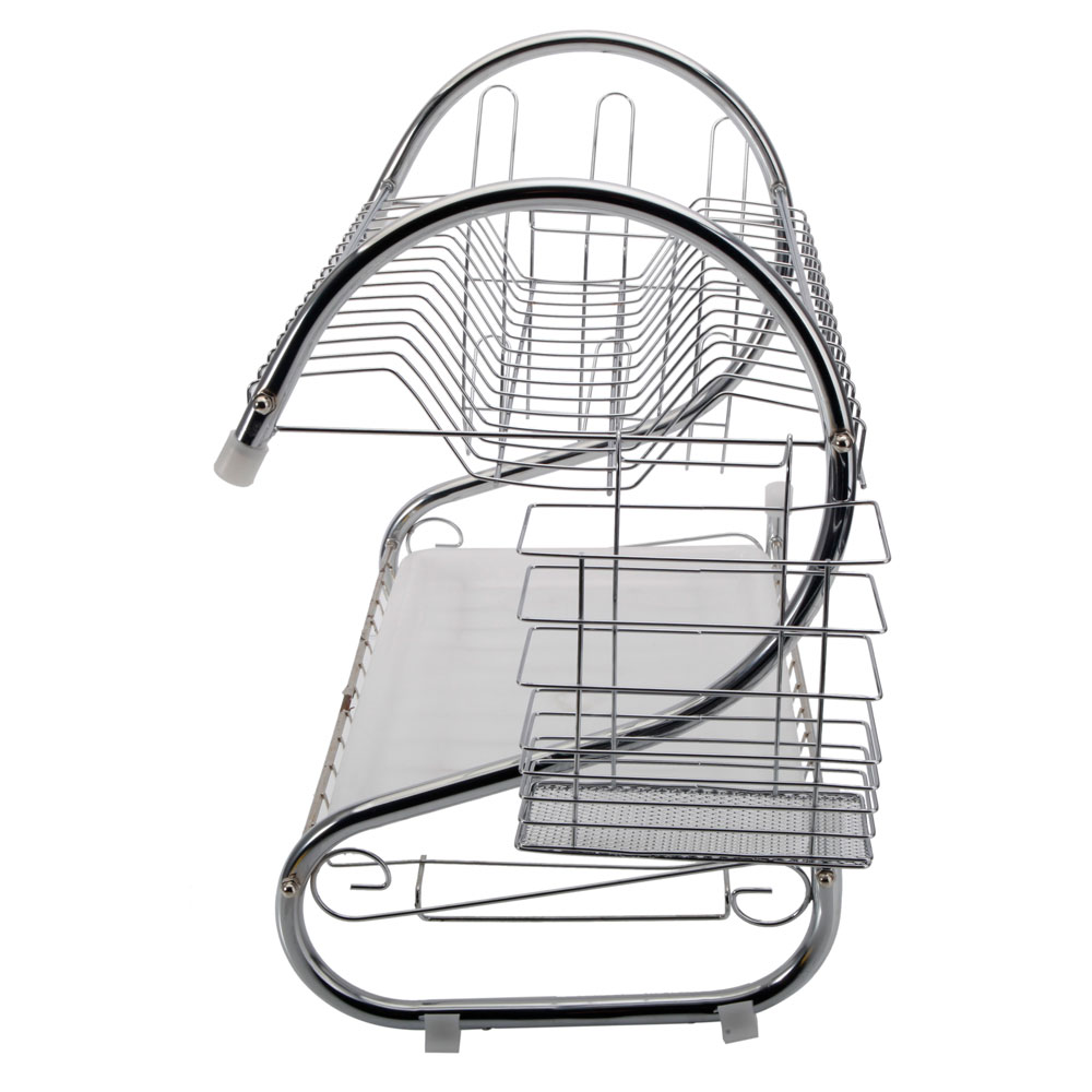 2 Tiers Kitchen Dish Cup Drying Rack Drainer Dryer Tray Cultery Holder Organizer US