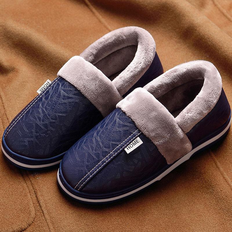 House Slippers For Men Non Slip Sturdy Sole 2019 Memory Foam Winter Leather Slipper Mens Plus Size 11.5-15 Warm Plush