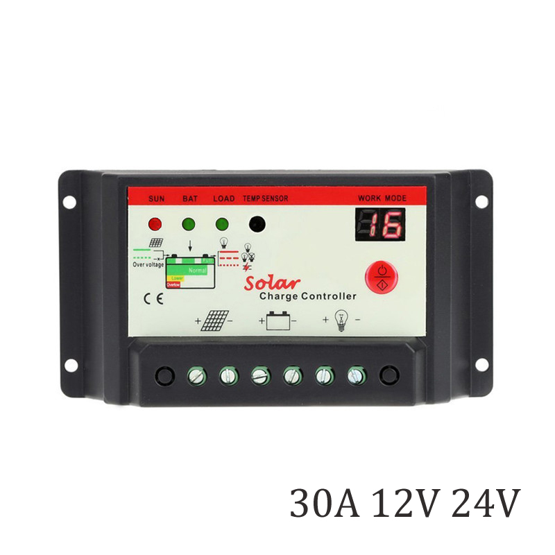 30A 12V 24V 100W 200W 300W PWM Solar Panel Charger Seal GEL AGM Battery Charger Batterys PV Street light lamp control30A 12V 24V 100W 200W 300W PWM Solar Panel Charger Seal GEL AGM Battery Charger Batterys PV Street light lamp control