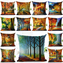 2017 High Quality Scenery Colorful Tree Pillow Almofadas Linen Pillow Decorative Linen Cushion Without Filling