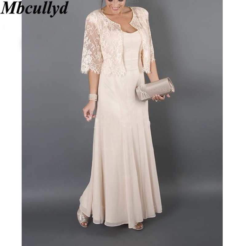Mbcullyd Mother Of The Bride Dresses 2019 Elegant Ruffled Chiffon Dress For Weddings Long Formal Evening Gowns With Lace Jacket