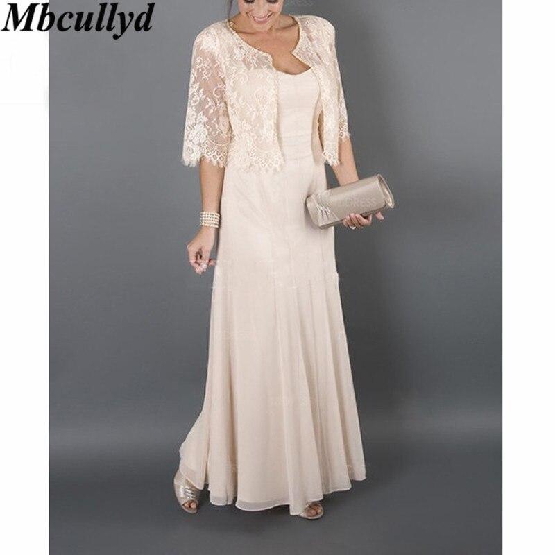 Mbcullyd mère de la mariée robes 2019 élégante robe en mousseline de soie à volants pour les mariages longues robes de soirée formelles avec veste en dentelle