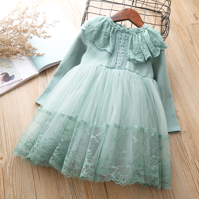 Girls Dress Elegant Autumn long Sleeve Cotton Lace Dresses Kids Little Girl Clothes 3 4 5 6 7 years Birthday Princess Tutu Dress star dress for girl european style bow tutu dress long sleeve mesh girls dresses leisure holiday kids clothes pink black