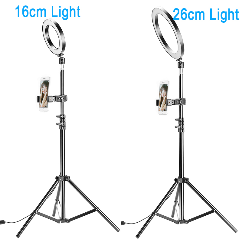photography dimmable led sefie ring light vlogging usb plug photo video lamp w led light stand