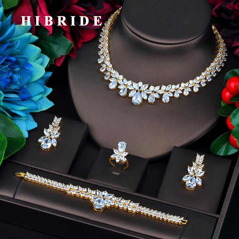 HIBRIDE New Luxury Design Gold Color Bridal Dubai Jewelry Sets For Women Wedding Accessories Party Gifts