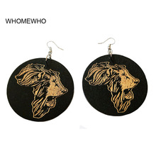 60cm Wood Round Africa Map Engraved Black Lion Head Tribal Earrings Fashion DIY Wooden Ethnic Accessory African Jewelry Gifts