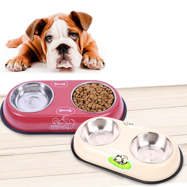 Stainless Steel Pet Double Bowl
