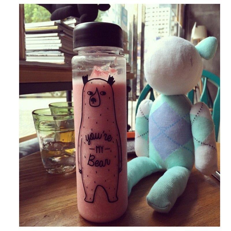 My Sport Bottle 350mk/500ml Fashion Sport My Bear Bottle Clear Plastic Juice Readily Space Bottle Water Bottle