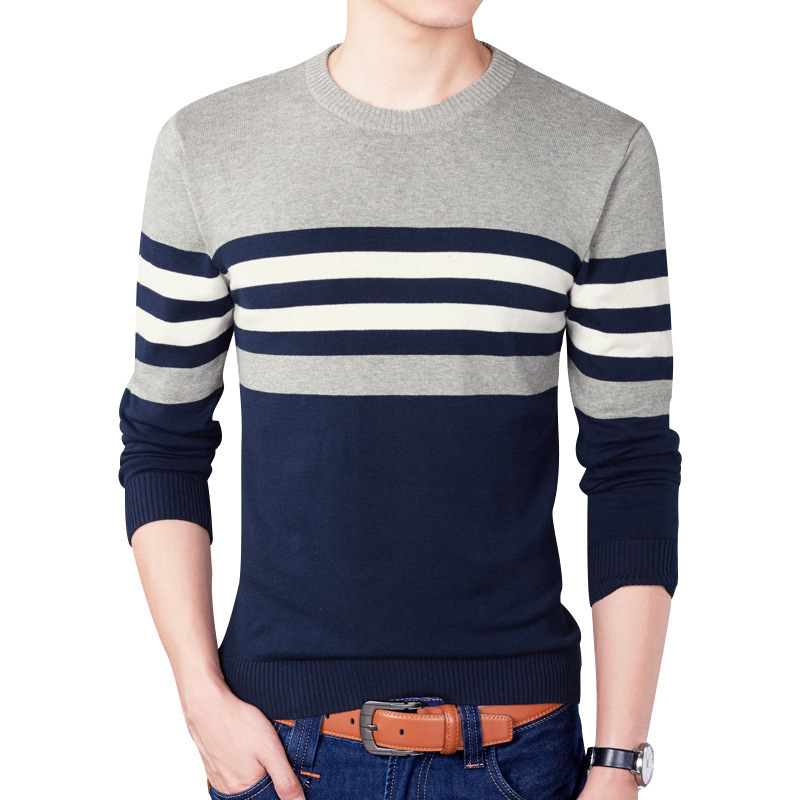 Knitted Sweater Pullovers Men Long-Sleeve Slim Striped Casual Homme Korea-Style 4XL 100%Cotton