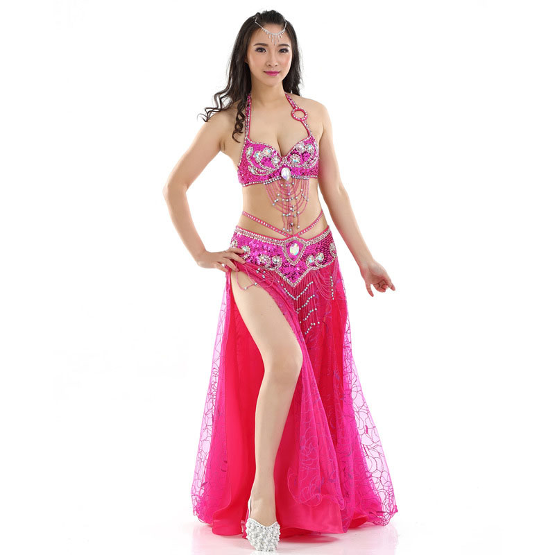 Women Stage & Dance Wear Oriental Dance Sequined Beaded Bra and Belt Bellydance Suit 3pcs Costumes for Belly Dance Indian Dress