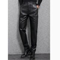 Winter Warm Black Genuine Leather Pants Men Fashion Casual Plus Size Motorcycle Pants Men Leather Joggers