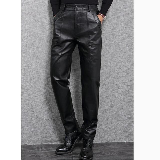 Invierno Cálido Pantalones de Los Hombres de Moda de Cuero Genuino Negro Ocasional Más El Tamaño de La Motocicleta Pantalones de Cuero de Los Hombres Corredores Pantalon Homme XXXL