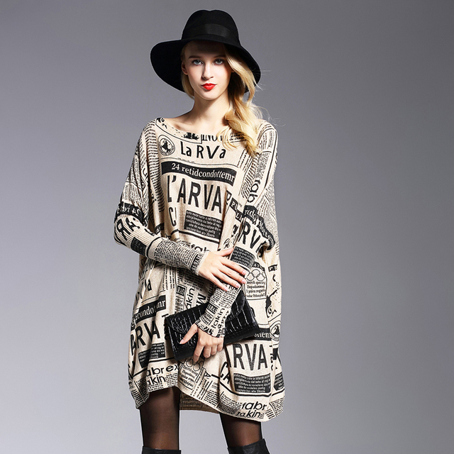 XIKOI Oversize Sweater Woman Fashion Letter Print Batwing Sleeve Pullovers Slash Neck Pullovers Computer Knitted Sweaters Female