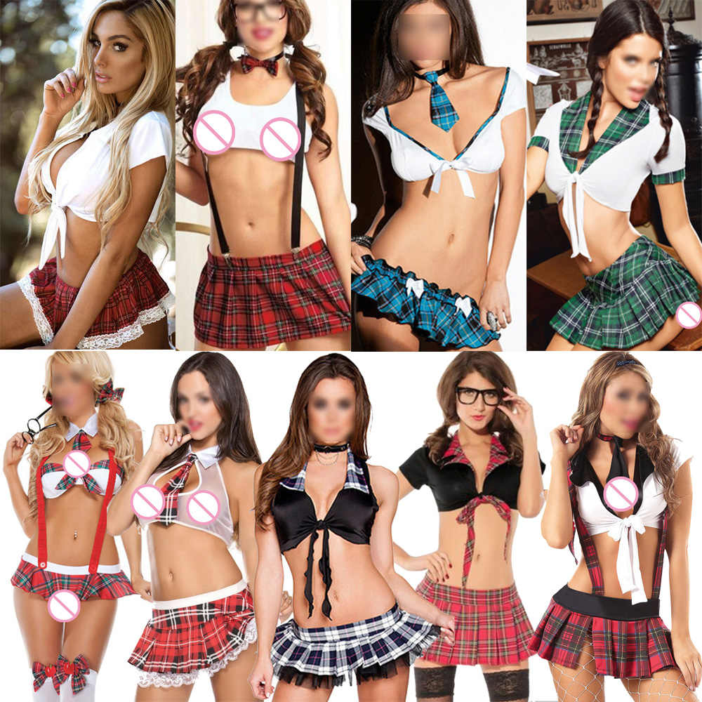 La MaxPa Women Babydoll lingerie Set Sexy cosplay Lingerie Schoolgirl Student Plaid Uniform Costumes Outfit Exotic Sets