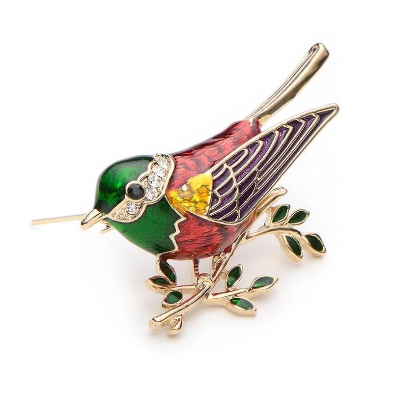 Rhinestone Emajl Oriole Ptice Broševi Muškarci Žene Legura Ptica - Modni nakit - Foto 5