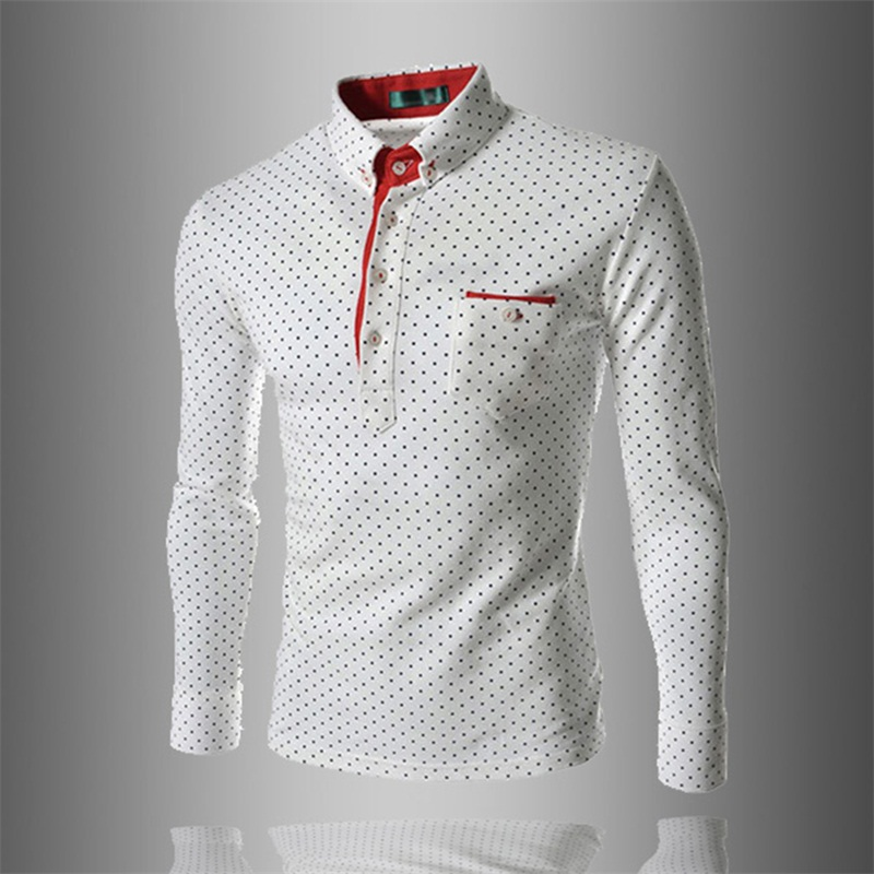 Dress Shirt Men Slim Fit Style Male For Boys Wave Point Polka Dot Casual Shirt Mens Soli ...