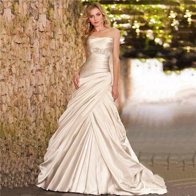 vestidos de novia sin tirantes brillante satinado vestido de falda