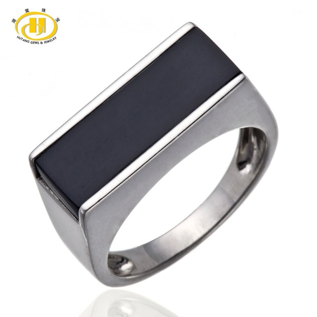 Hutang Men's Jewelry Black Agate Solid Sterling Silver 925 Ring Fine Jewelry Father's day Gift