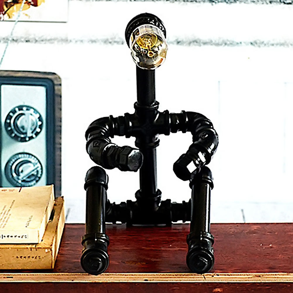 ФОТО Industrial Retro Loft Vintage E27 Bulb Table Lamp Water Pipe Desk Light Fixture Home Bar Decor