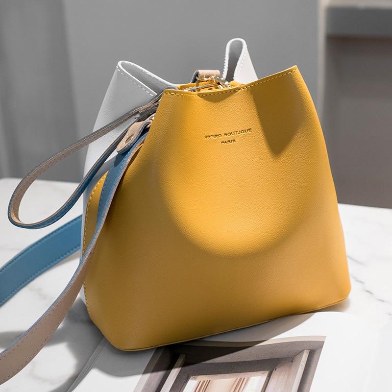 2019 New Female Bucket Set Of Bags  Fashion Casual Wild Crossbody Shoulder Small Bag PU Leather Large Capacity Yellow Gray Khaki