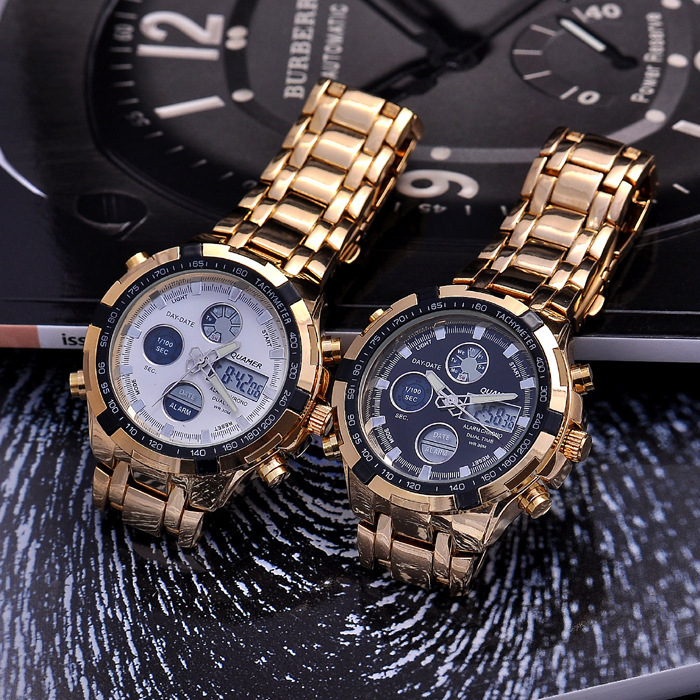 Sports Men Full Steel LED Watches Quartz Dualdisplay Watch 6 Digit Multi functional Chronograph Watch Big