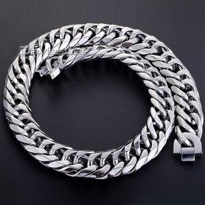 Image 2 - Moda 18mm erkek zincir erkek Biker ağır gümüş renk kesim çift gem zinciri Rombo 316L paslanmaz çelik kolye takı DLHN54