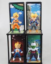 Dragon Ball Z Q Version Super Saiyan Son Goku Vegeta Piccolo Trunks PVC Action Figure Collectible Model 4pcs/set