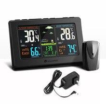 Houzetek สถานีอากาศไร้สายนาฬิกาปลุกความชื้นพยากรณ์อากาศจอแสดงผลการควบคุมเสียง Backlight นาฬิกาปลุก
