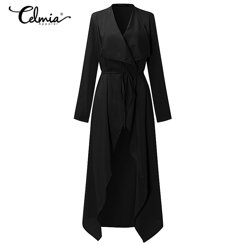 Women Casual Coat Thin Long Cardigan Overcoat Elegant Belted Duster Jacket Overall Outwear Sexy Plus Size 3XL 2019 Autumn Spring