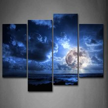 4 panel  Panels Abstract Moon Scenery Canvas Print Painting Modern Wall Art for Pcture Home Decor Artwork