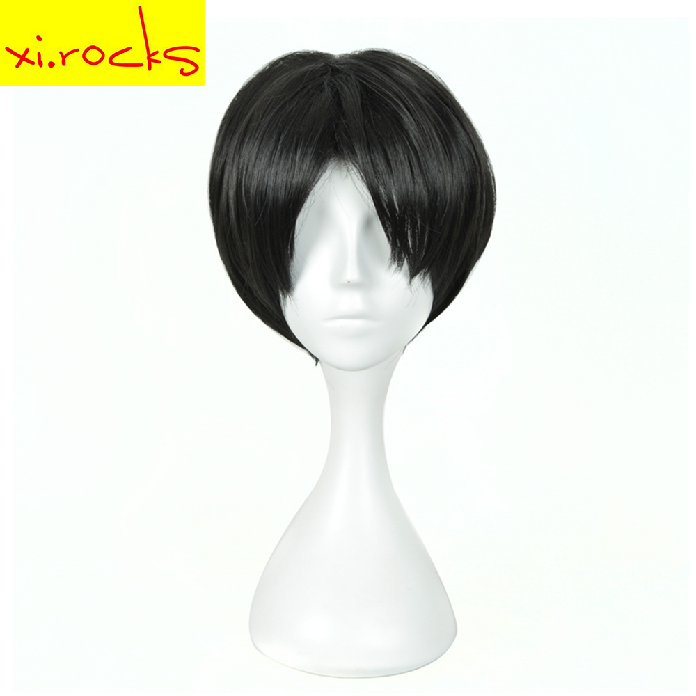 Xi.rocks Attack on Titan Short Straight Black Synthetic Wigs Rival Ackerman Armin Arlert Cosplay Wigs Halloween Stage Hair New