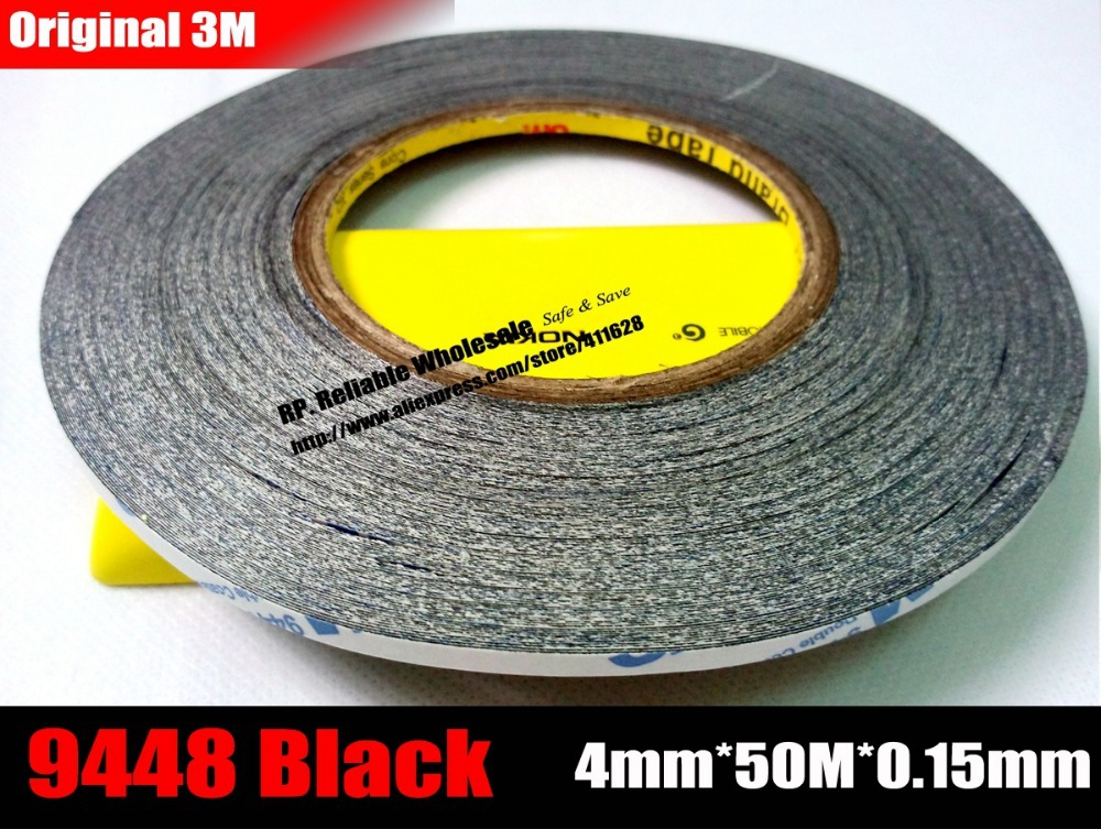 (4mm*50M*0.15mm), Original 3M 9448AB Black Double Sided Adhesive Tape for Android MacPro Tablet Glass, LCD Touch Screen, Lens 10mm 20m 0 5mm double sided black sticky sponge foam tape gasket for android machine mainboard tablet panel seal dust proof