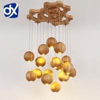 Wooden pendant light Chinese Nordic creative minimalist living room wood ball wooden pendant lamp Dining Room Lamp