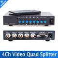 4CH Color Video Digital Color Quad Splitter Processor VGA-OUT For CCTV Security System With BNC Switcher Splitter