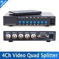 4CH Vídeo de Cor VGA-OUT Digital Color Quad Processor Splitter Para Sistema De Segurança CCTV Com BNC Switcher Splitter