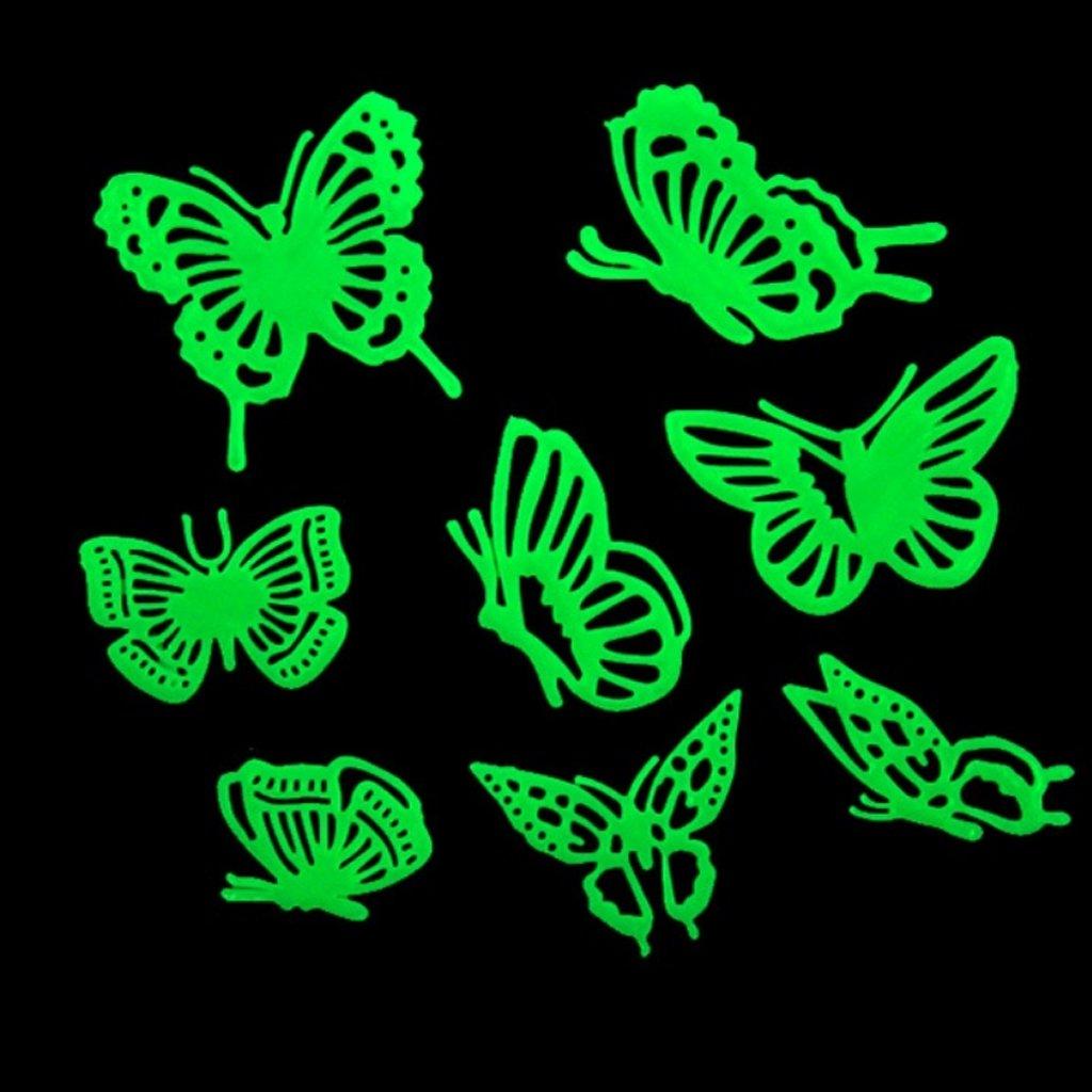 GSFY!8pcs Autocollants de Papillon Brillant Fluorescent Lueur dans lobscurite pour Chambres des Enfants Creche