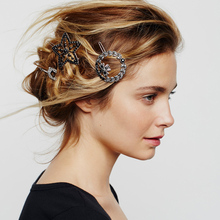 New Vintage Fashion Design Geometric Hairpin Rhinestone Hair Clip Star Round Arrow Shape For Women Girls Hair Accessories Gifts delicate arrow shape triangle hairpin for women