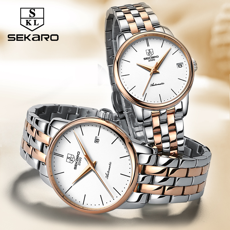SEKARO Brand Couple Watches Men and Women Gift Automatic Mechanical Watch Genuine Fashion Trend Steel Waterproof Bracelet Table unique smooth case pocket watch mechanical automatic watches with pendant chain necklace men women gift relogio de bolso