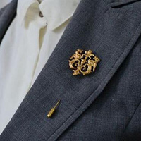 Hot Unisex Gold Dragon Shield Brooches Suit Shirt Corsage Lapel Stick Pin Chain Brooch Jewelry Gift For Women Men