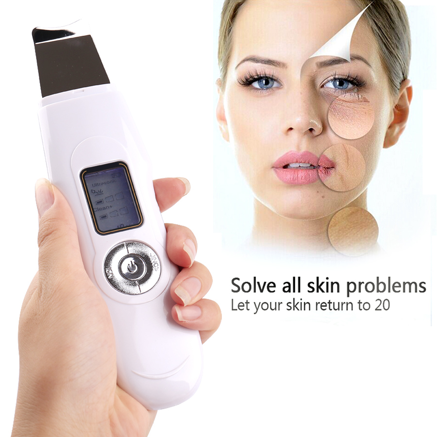 Portable LCD Mini Facial ultrasonic face massager Ion Skin Scrubber Peeling Facial Cleaner Massager peeling shovel exfoliator machine ultrasonic wave face skin scrubber blackhead acne removal facial cleaning vibration massager