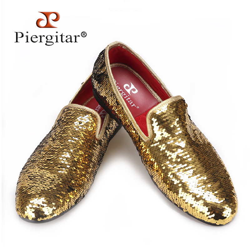 PIERGITAR 2018 Wedding and Prom Gold colors men smoking slippers luxurious glitter Handmade men loafers big size male flats piergitar 2017 new handmade men loafers with tie design fashion prom and banquest men smoking slippers plus size male flats