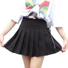 Шнуровка Милая плиссированная мини-юбка в стиле преппи милые Для женщин Saia Faldas Harajuku школьная форма юбка женская юбки