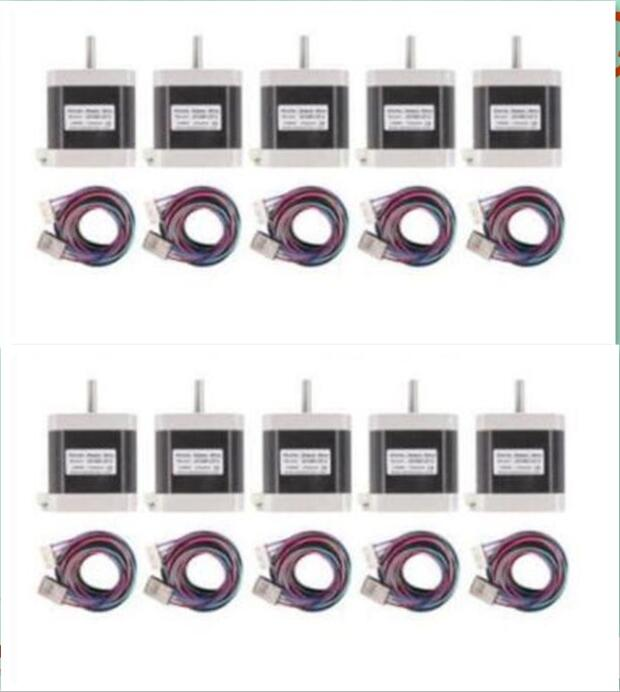 [DE TO EUR]10pcs Nema17 42BYGHW811-X1 0.48N.m(70oz-in) 48mm 2.5A 3.1V 48mm D-Shaft With Connector for 3D printer robotic